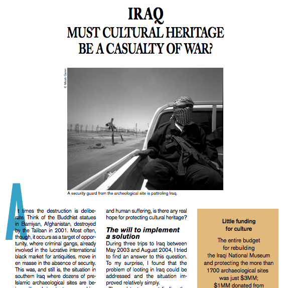Iraq: Must cultural Heritage be a Casualty of War? - The Unesco Courier, December 2006By Micah Garen