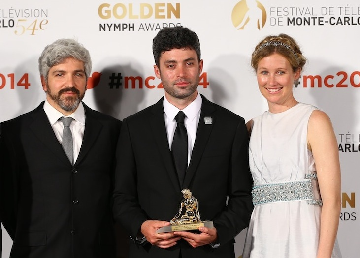 Micah and Marie-Hélène with Matthew Cassel at the Festival De Television De Monte-Carlo in 2014, where their documentary Identity & Exile for Al Jazeera English won the Golden Nymph.