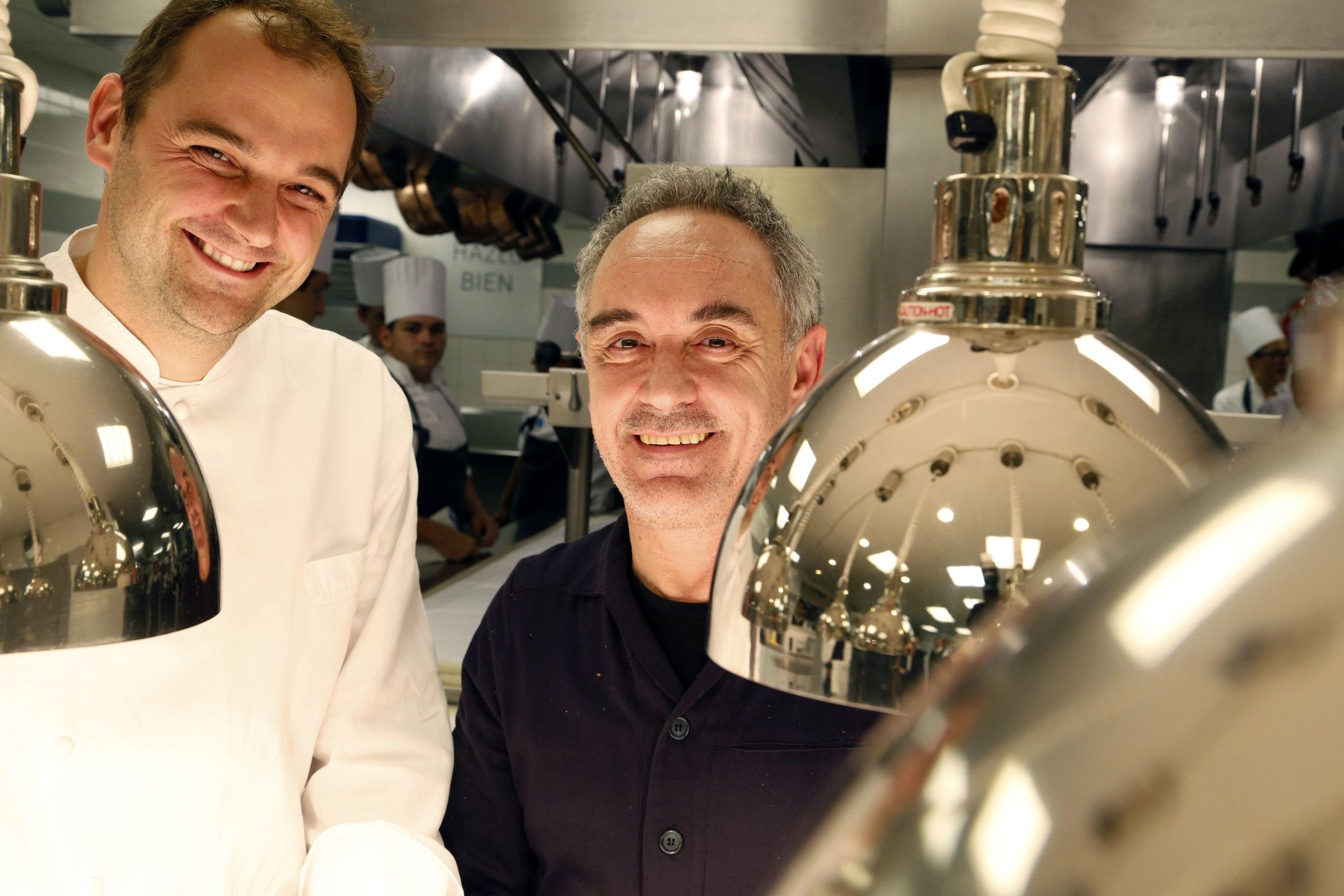 Chef Daniel Humm and Chef Ferran Adria at Eleven Madison Park, Fall 2014.