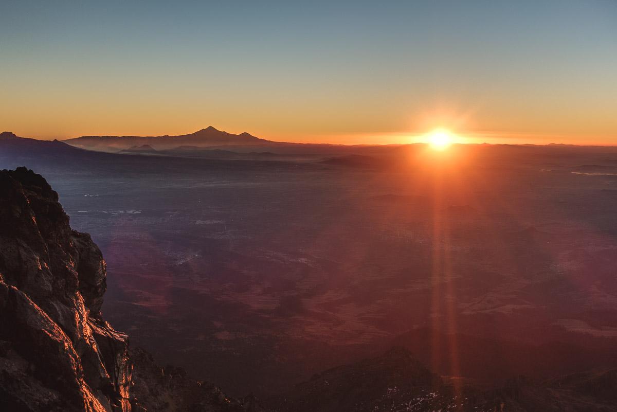 Pico de Orizaba, the highest mountain of Mexico, on the horizon