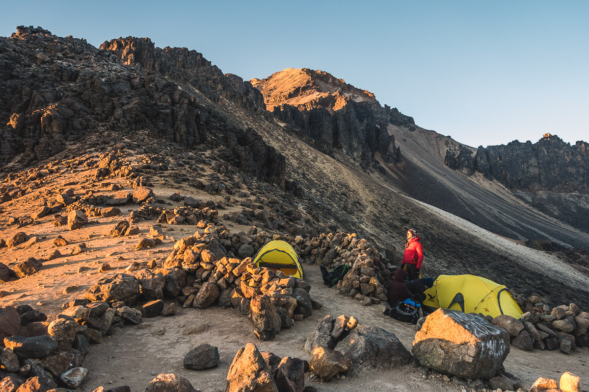 Markus catching the last sunrays in High Camp on Iztaccihuatl