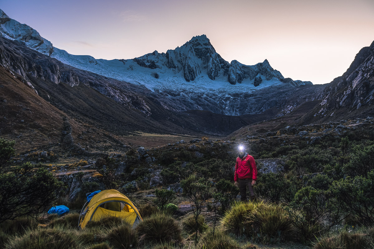 Taulliraju from our camp. On the right, the highest pass of the Santa Cruz Trek – Punta Union.
