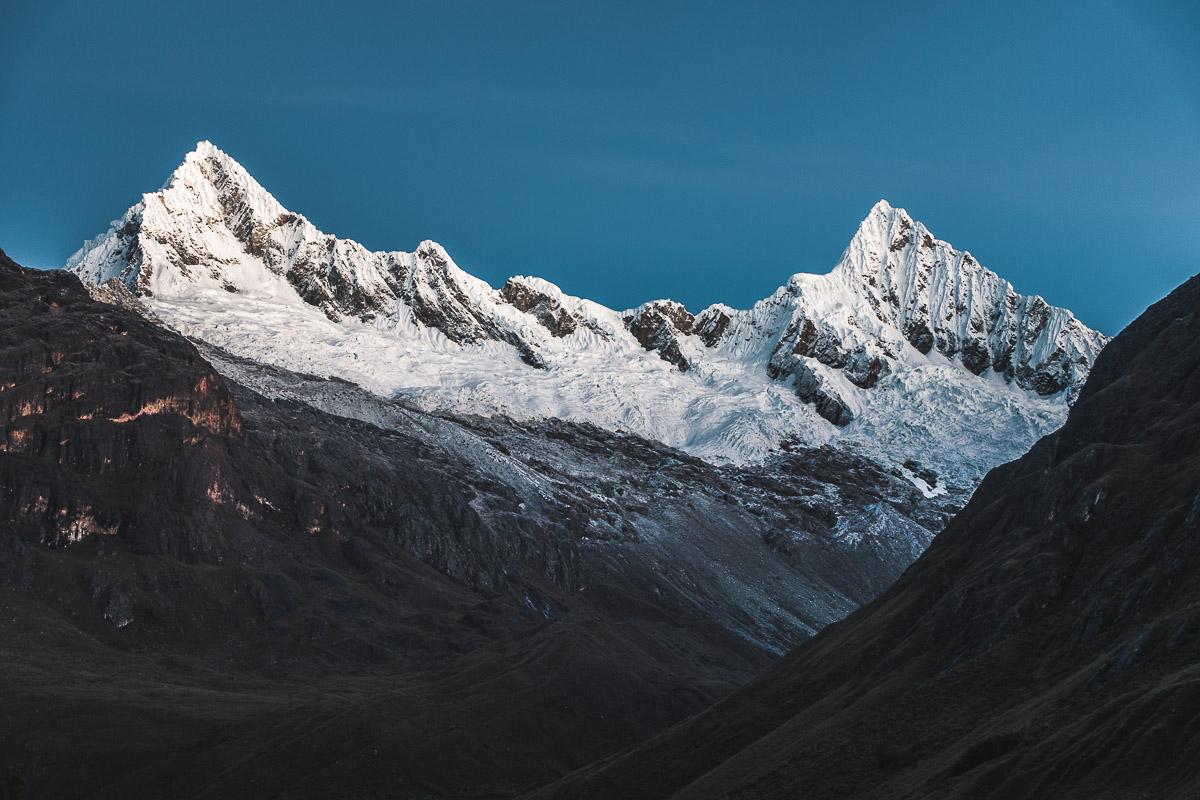 Quitaraju and Alpamayo just before sunrise