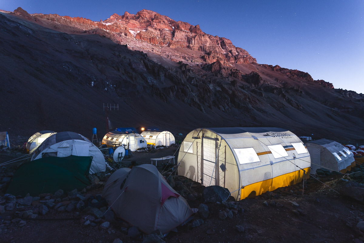 Tents from Grajales Expeditions in Base Camp Plaza de Mulas on Aconcagua. (Credit of this picture and blog cover: Grajales Expeditions)