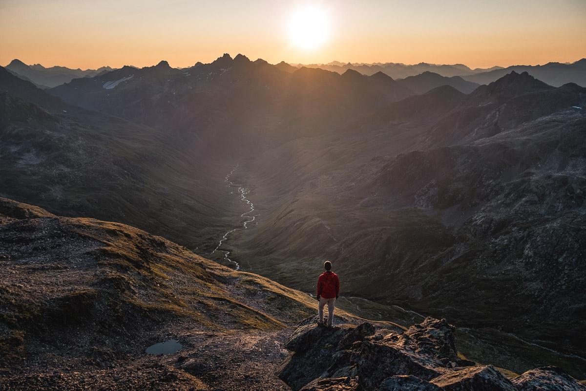 On the summit of Piz Forun (3052m), Switzerland