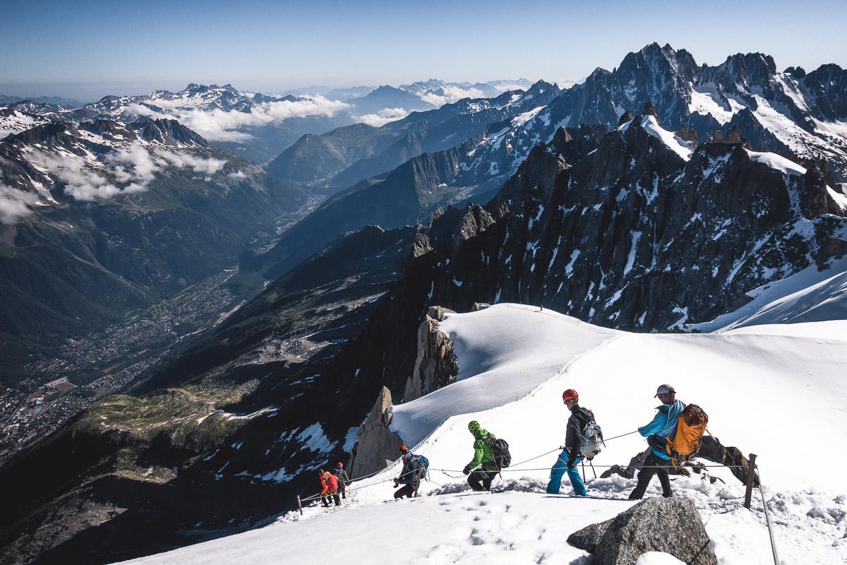 Descending from Aiguille du Midi (3842m), France