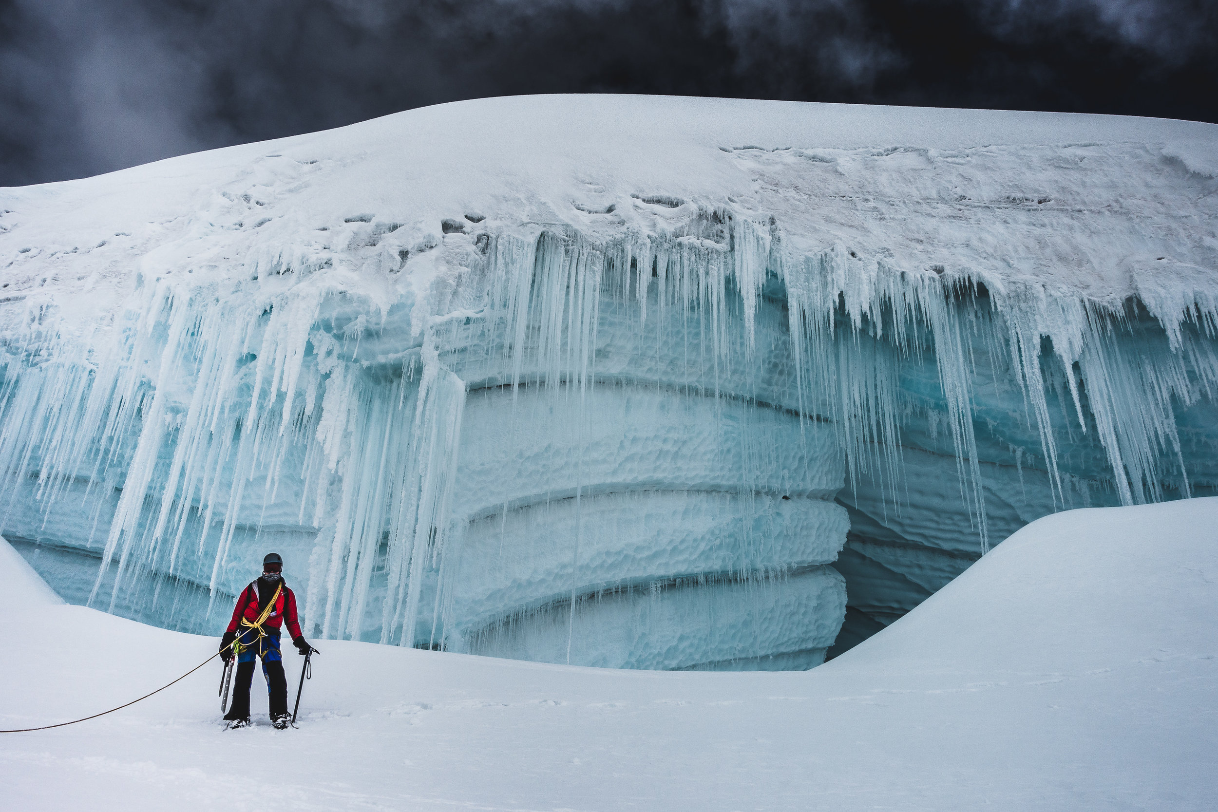 Ice walls high on Tocllaraju (6032m), Cordillera Blanca, Peru