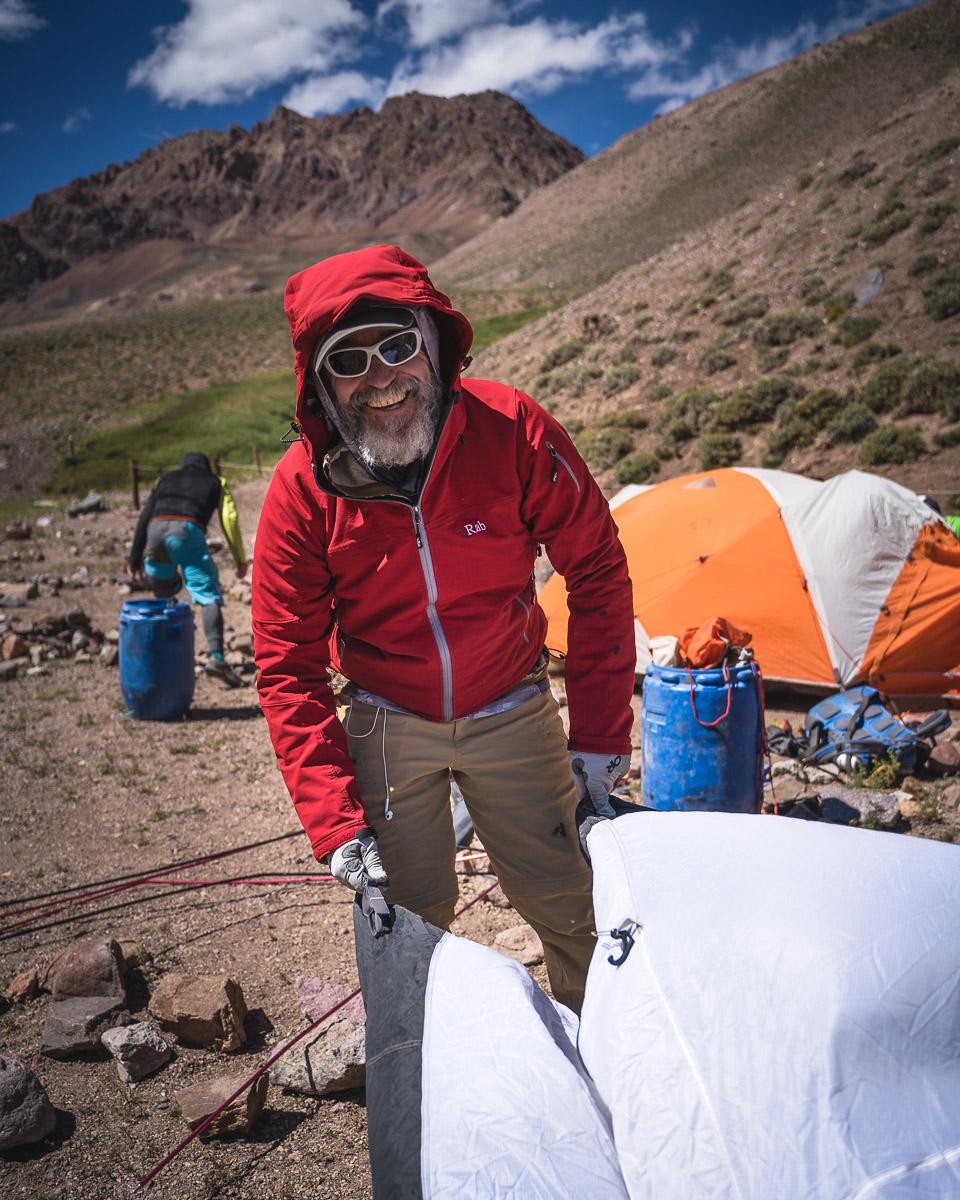 Setting up the tents at Casa de Piedra