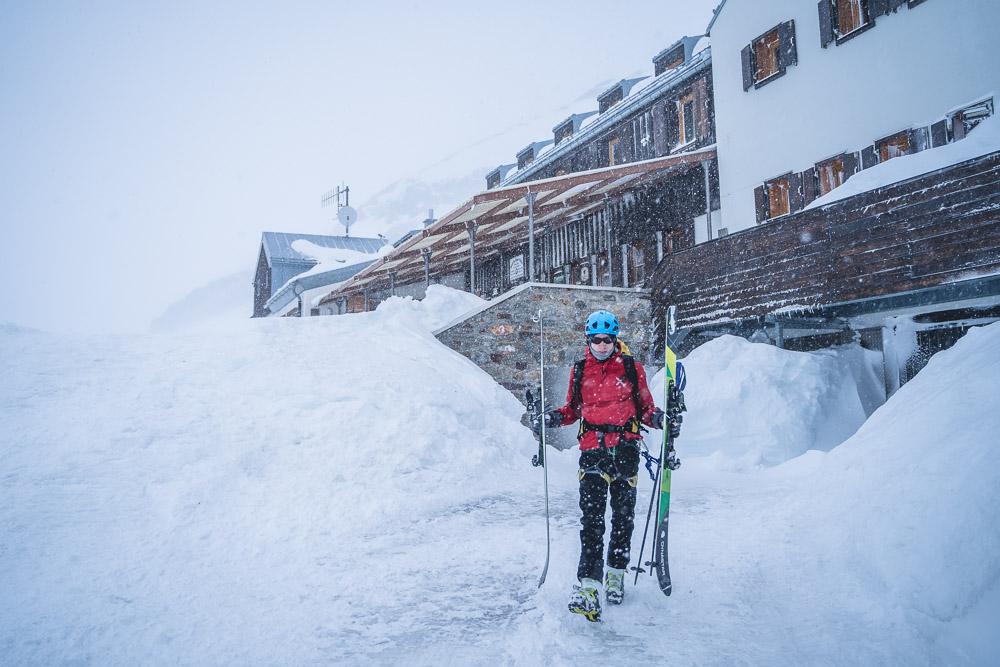 Wiesbadener Hütte - Aufbruch trotz des Schneetreibens