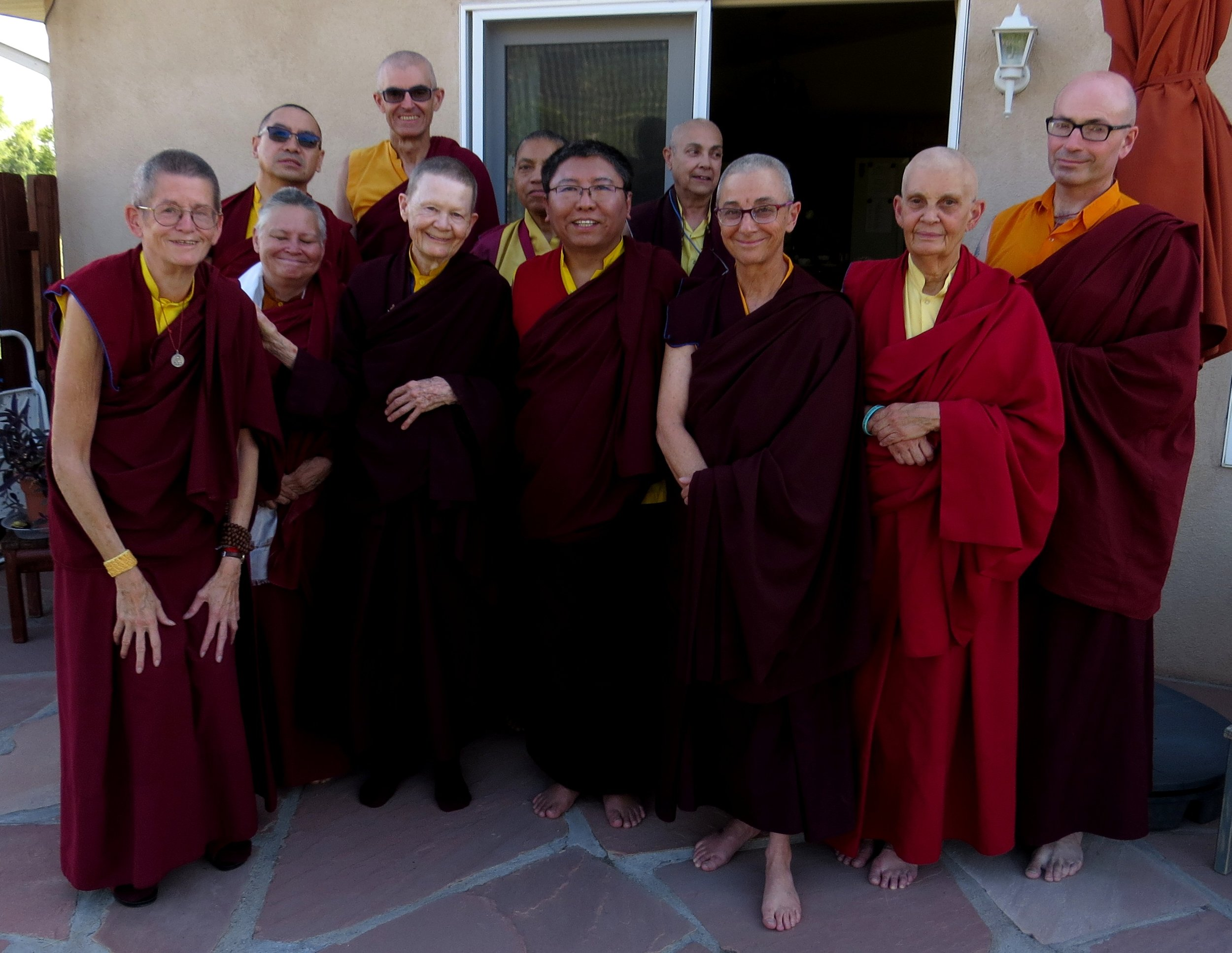 Local and visiting monastics gather after a very enjoyable and illuminating afternoon tea with Tsoknyi Rinpoche and Ven. Pema Chödrön.