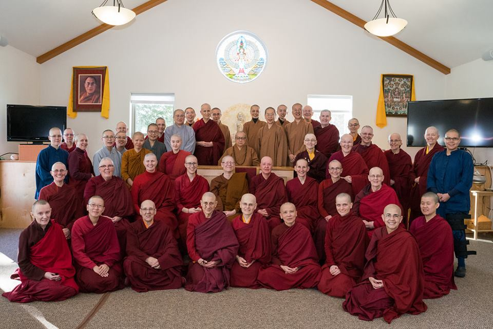 All of the nuns who gathered from nine different countries for the historic Living Vinaya monastic training program, led by Ven. Master Wuyin at Sravasti Abbey.