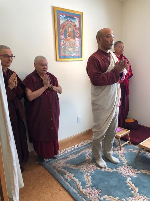 Anam Thubten Rinpoche offering auspicious prayers to bless Pema Chöling's shrine room.