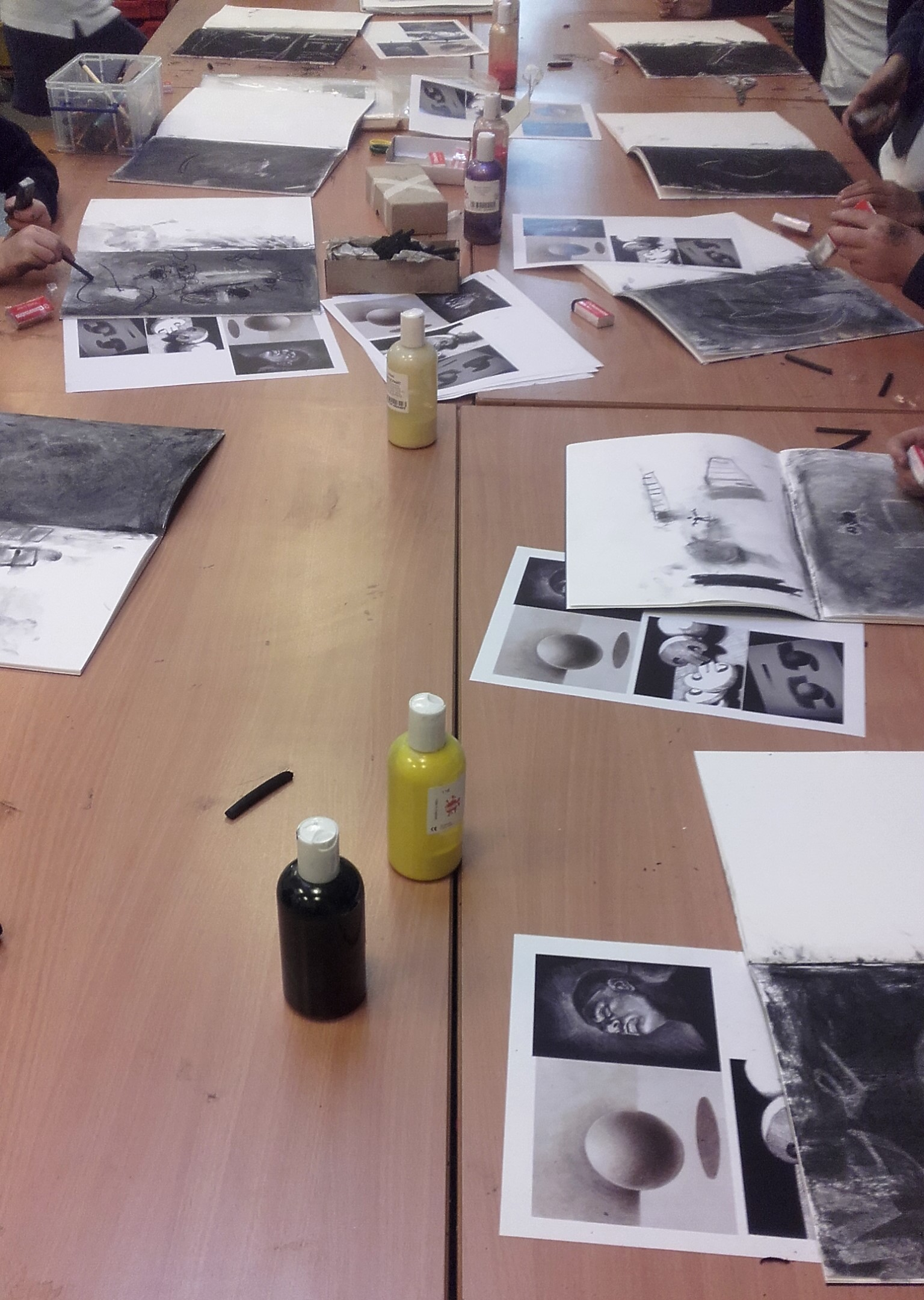 Tonal values with charcoal and rubber.