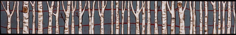 "Birch on Blue  23 "" x 3 1/2"""