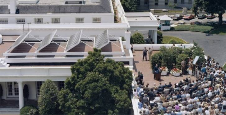 White House Solar Panel dedication ceremony, June 20, 1979. Image credit: Jimmy Carter Presidential Library/NARA