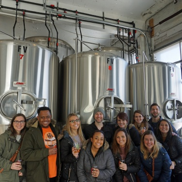 Tour Group in a Brewery