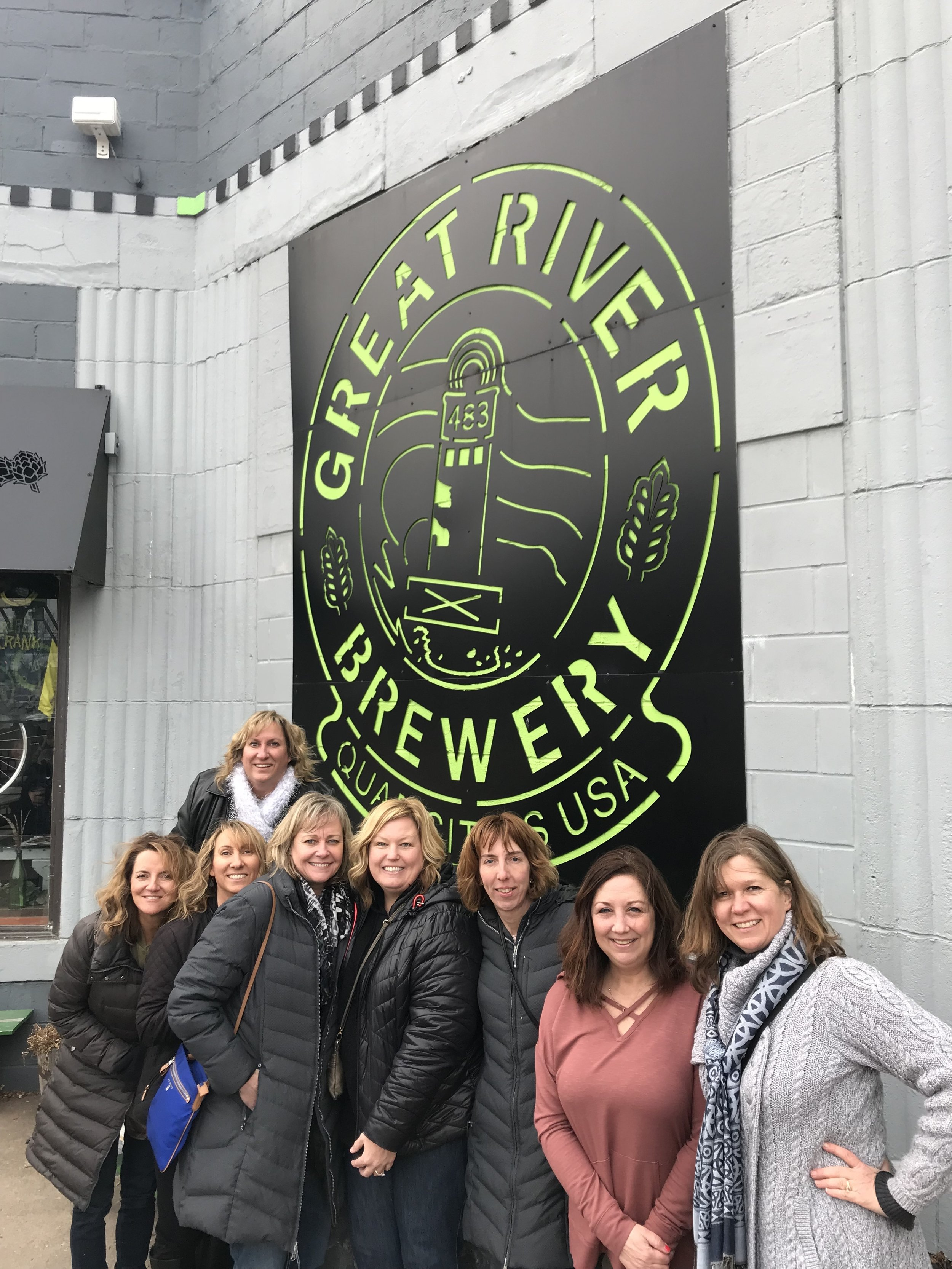 Tour Group outside Great River Brewery