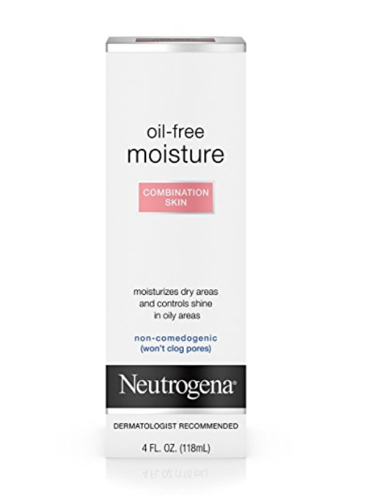 Neutrogena Oil-Free Moisture, Combination Skin - Is your skin oily in some areas but dry in others? This moisturizer will help control your shine while keeping your skin hydrated. I apply a thin layer of this to my entire face before putting on primer and foundation.