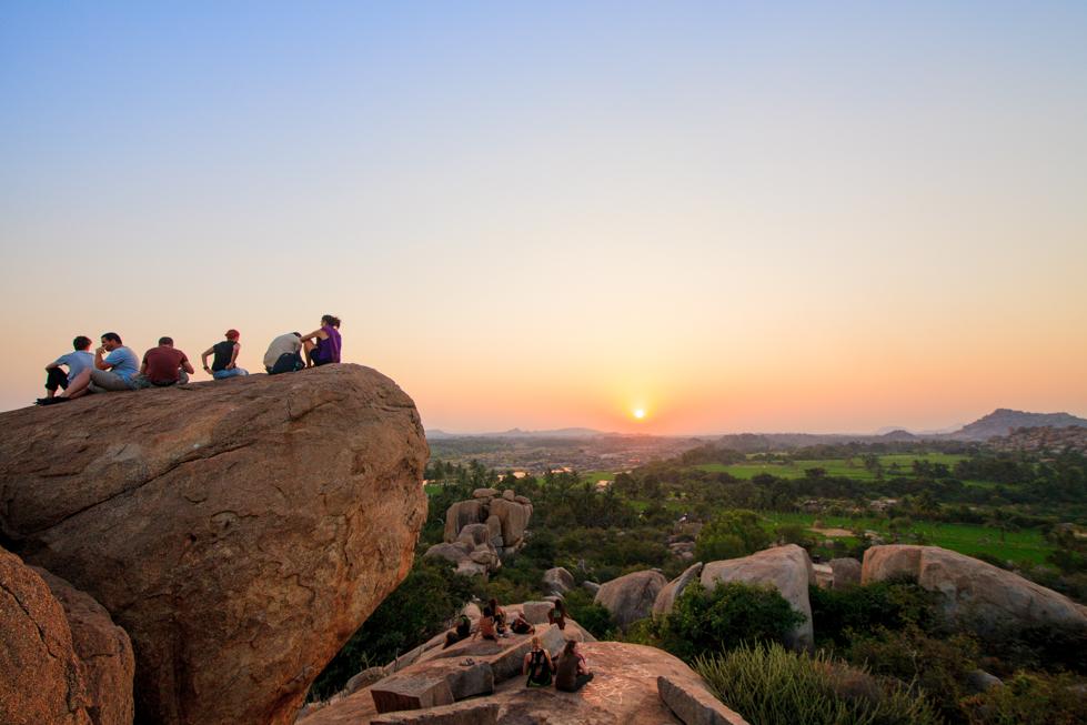 sunset in hampi india
