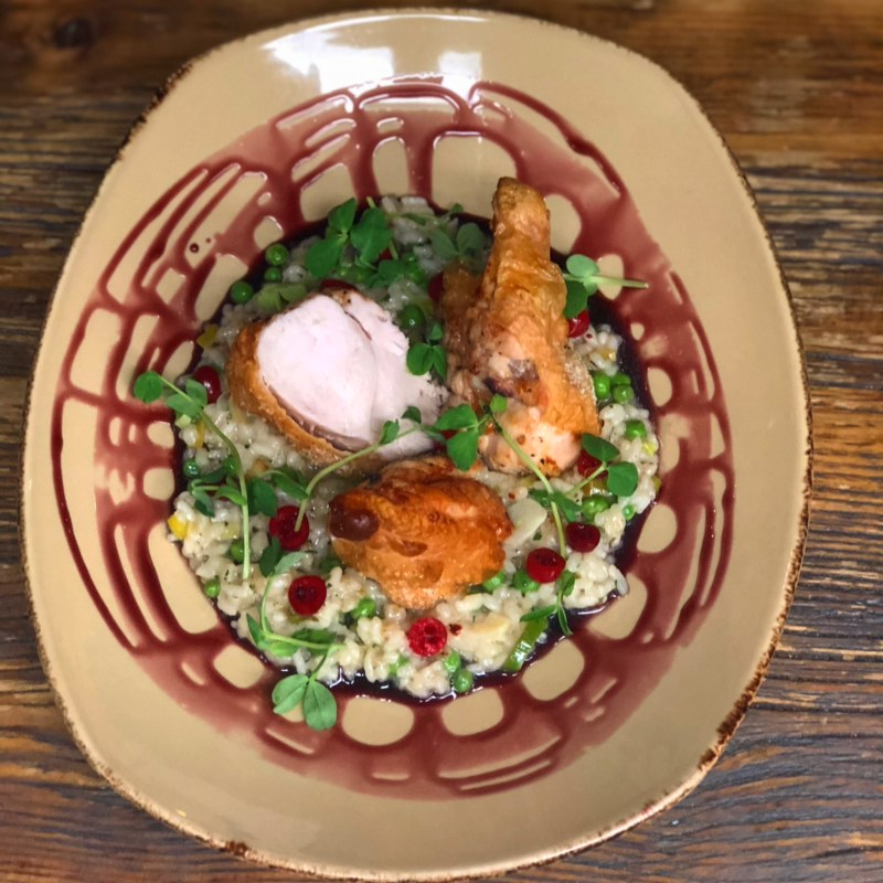 Roasted chicken breast, sweat pea risotto, pickled cranberry, red wine caramel