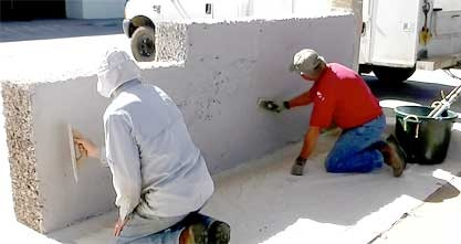 A wall being built with Trollworks' chipcrete technology, photo by Gordon West.