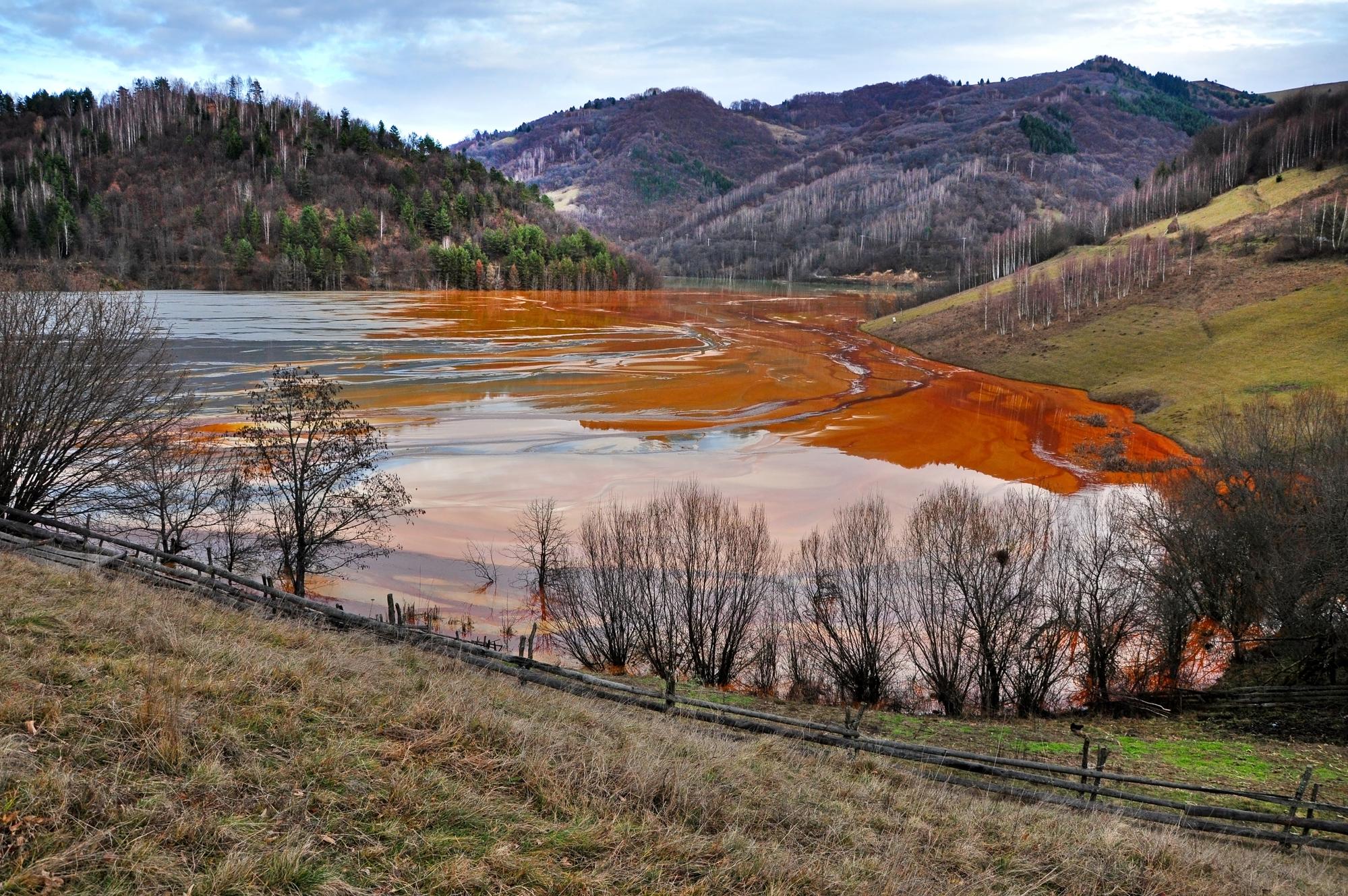 Landscape showing impact of mine waste.