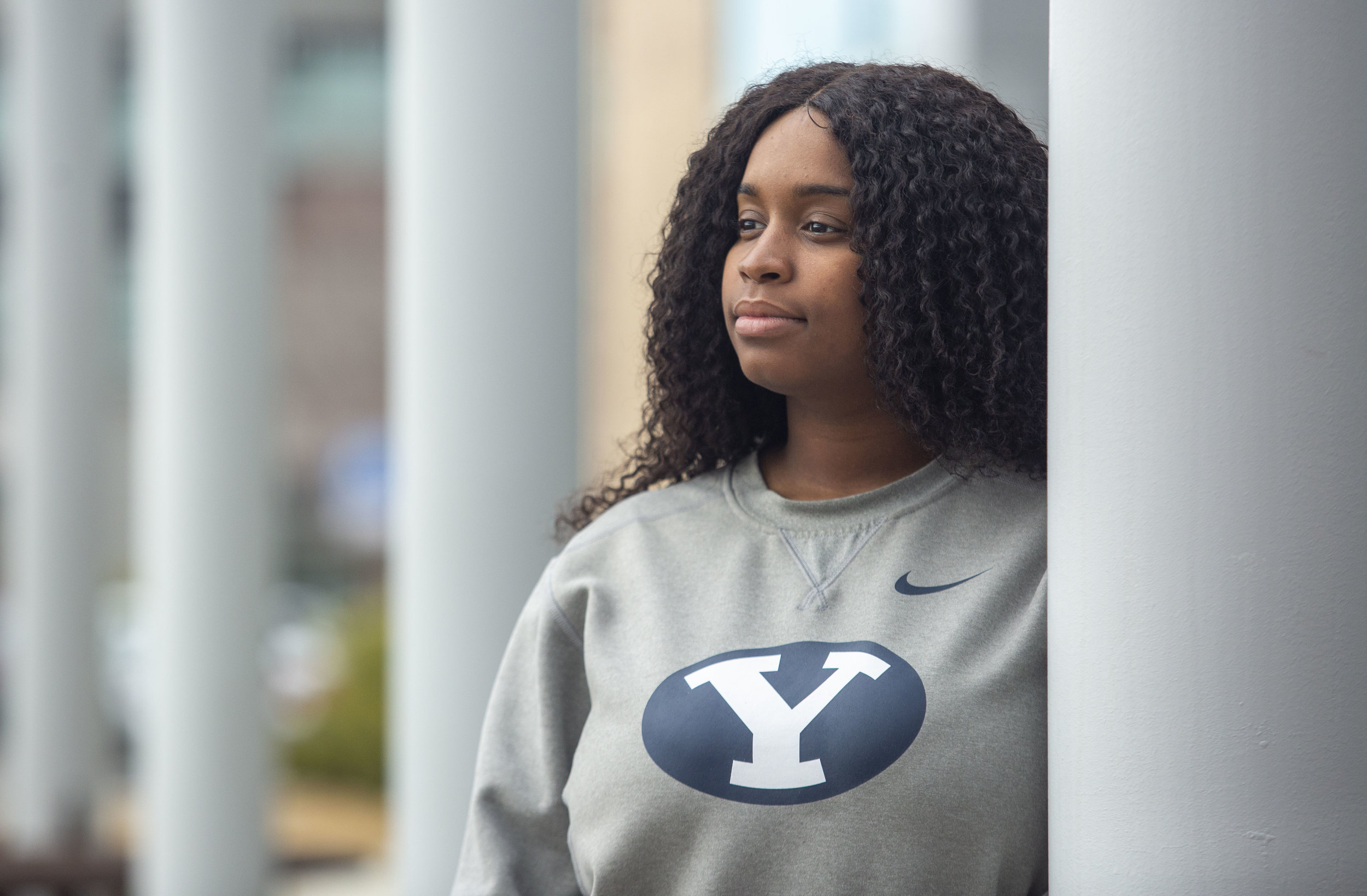 "Student Johnisha Demease-Williams, 21 who worked on a video about African American students, at the BYU campus on Thursday, Feb. 28, 2019, in Provo. The video, entitled ""We Are BYU"" series contains interviews with black students who attend BYU. (Photo by Natalie Behring, special to the Daily Herald)."