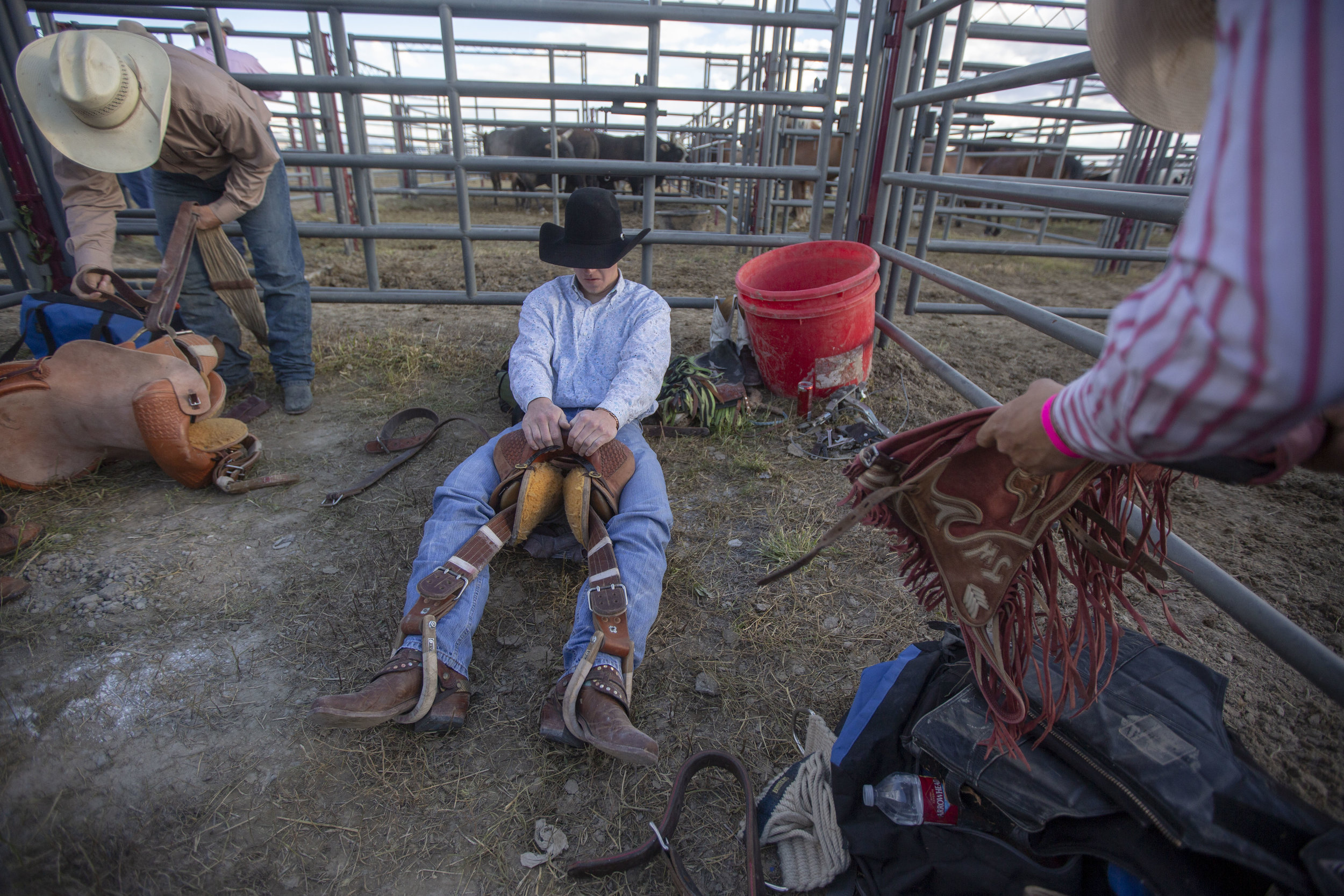 Saddle Bronc riders get ready for their event.