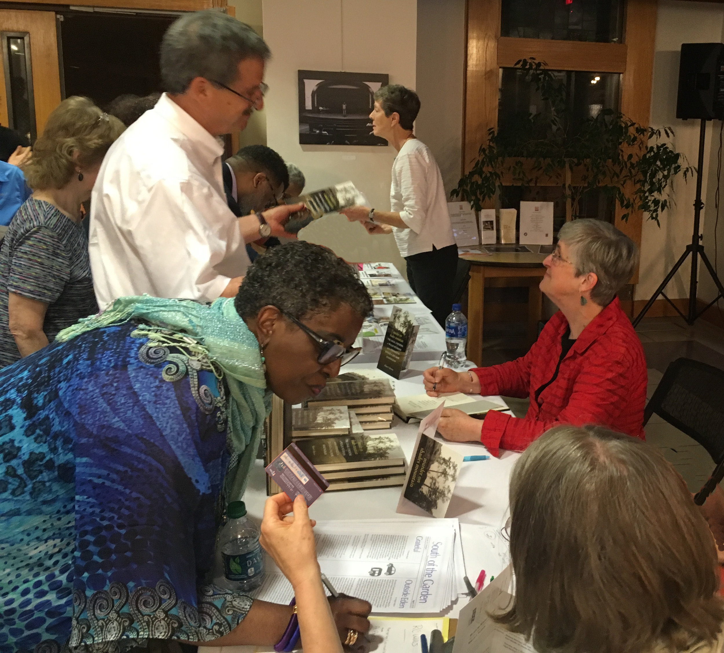 Signing books at the Hayti Heritage Center in Durham, N.C.