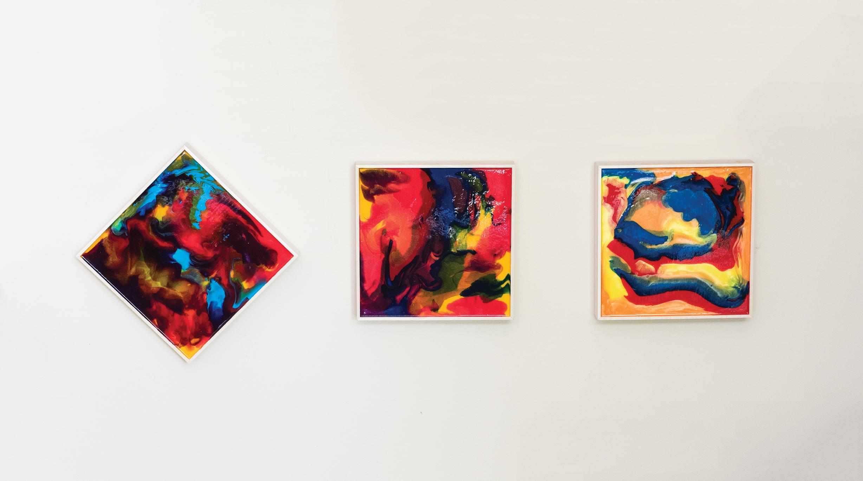 Glen Walton's artwork hangs on his living room wall.