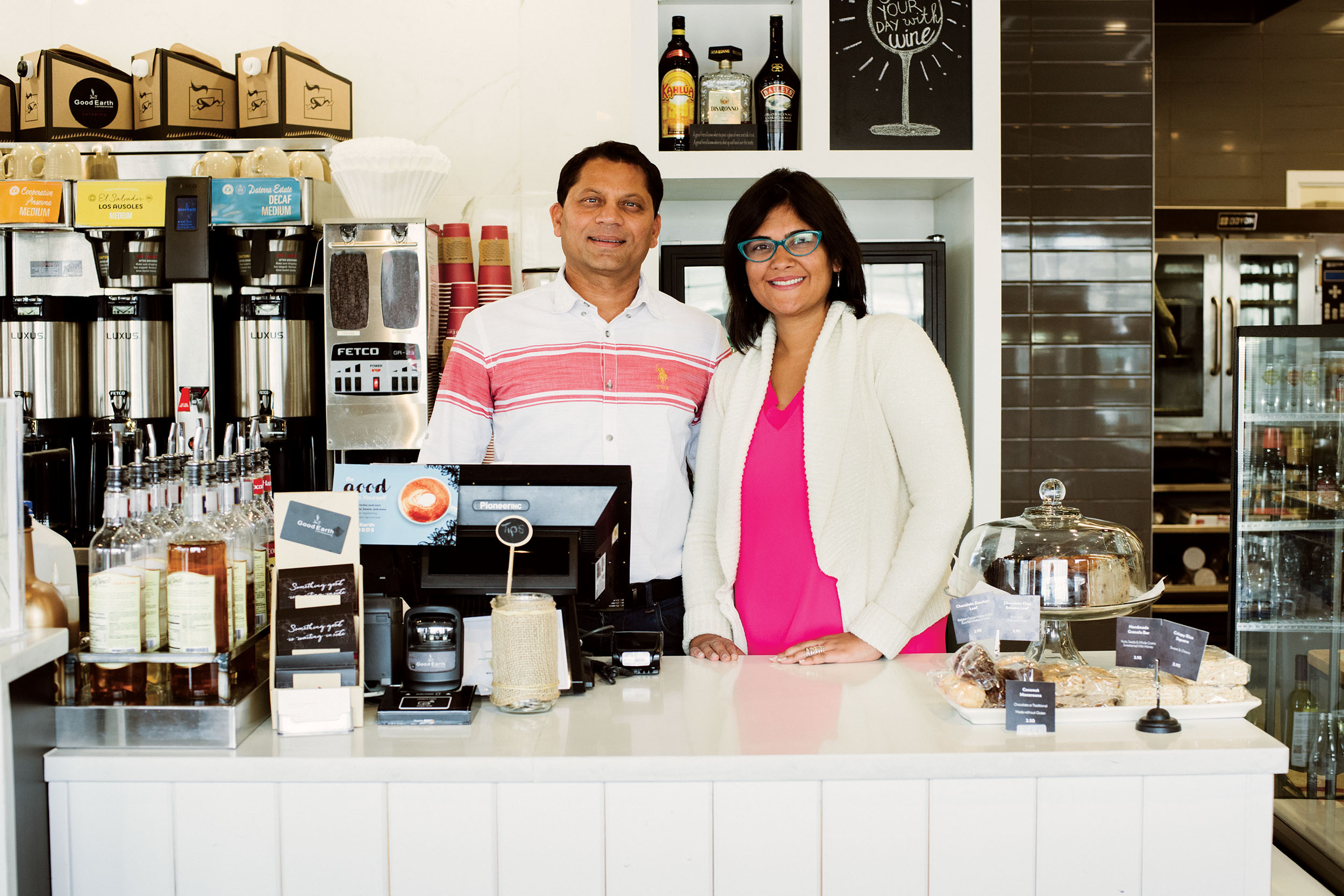 Taking care: Manoj and Ritu Agarwal at the Good Earth Coffeehouse in Strathcona.Photography by Jared Sych.