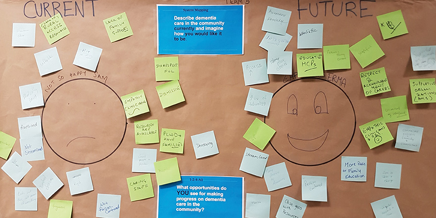 """An Alzheimer Society poster on display at an """"Ask Me Anything"""" booth during PHC IGSI's third workshop."""