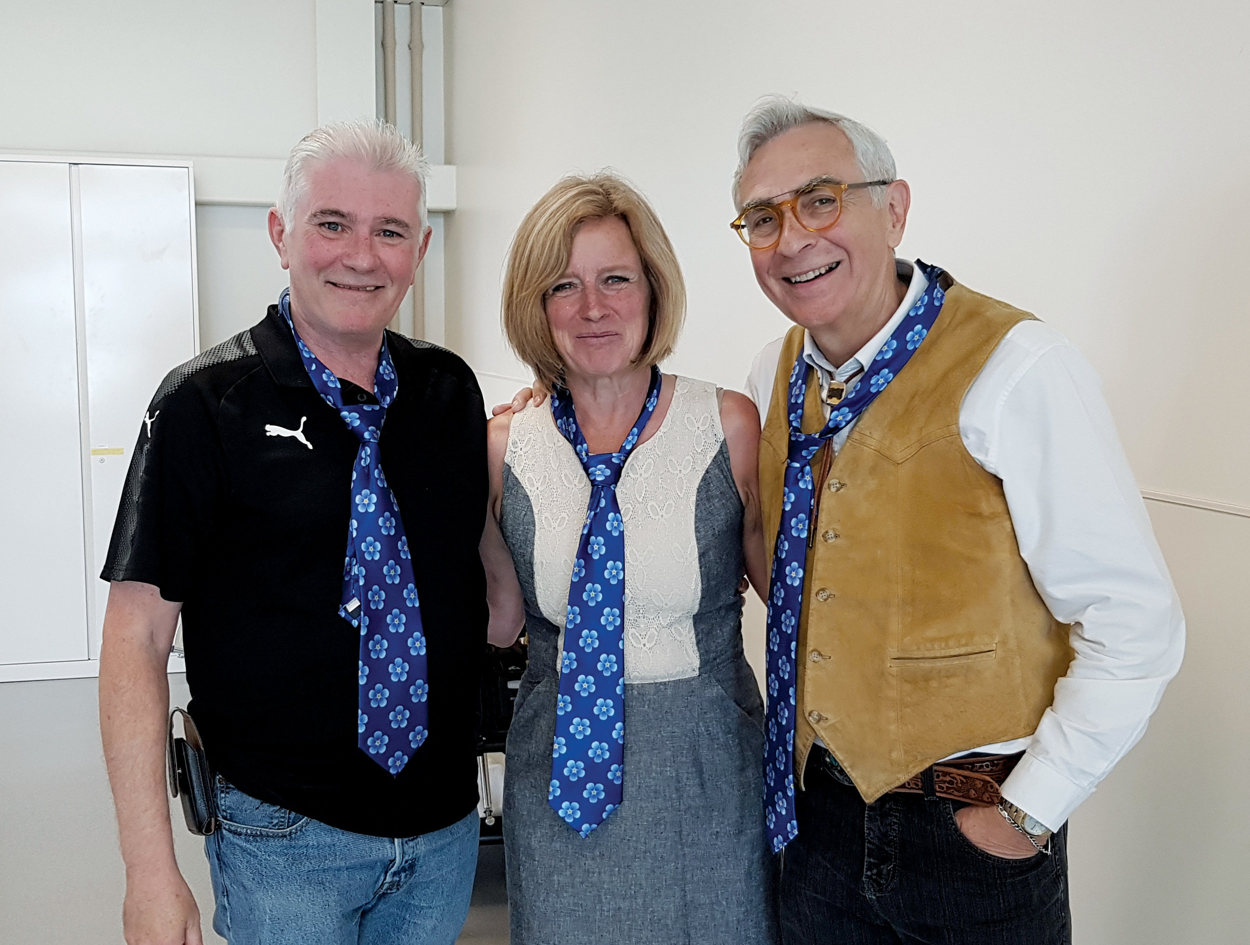 From left: Roger Marple with premier Rachel Notley and MLA Bob Wanner. Photo courtesy of Roger Marple.