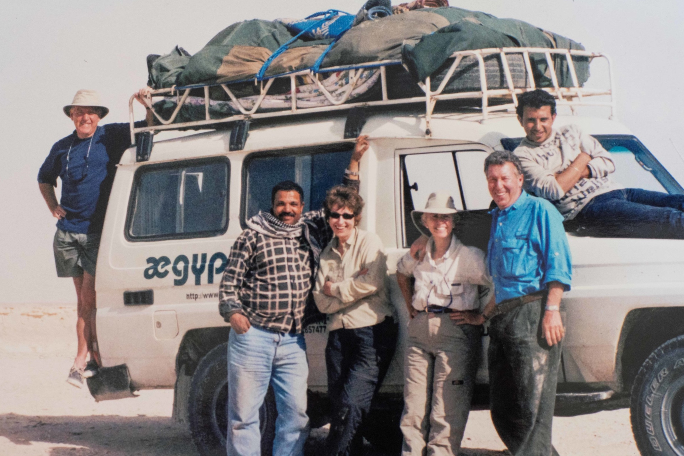 Lynne and Bill with friends on the Sinai in Egypt. Photo courtesy Lynne Kearns.