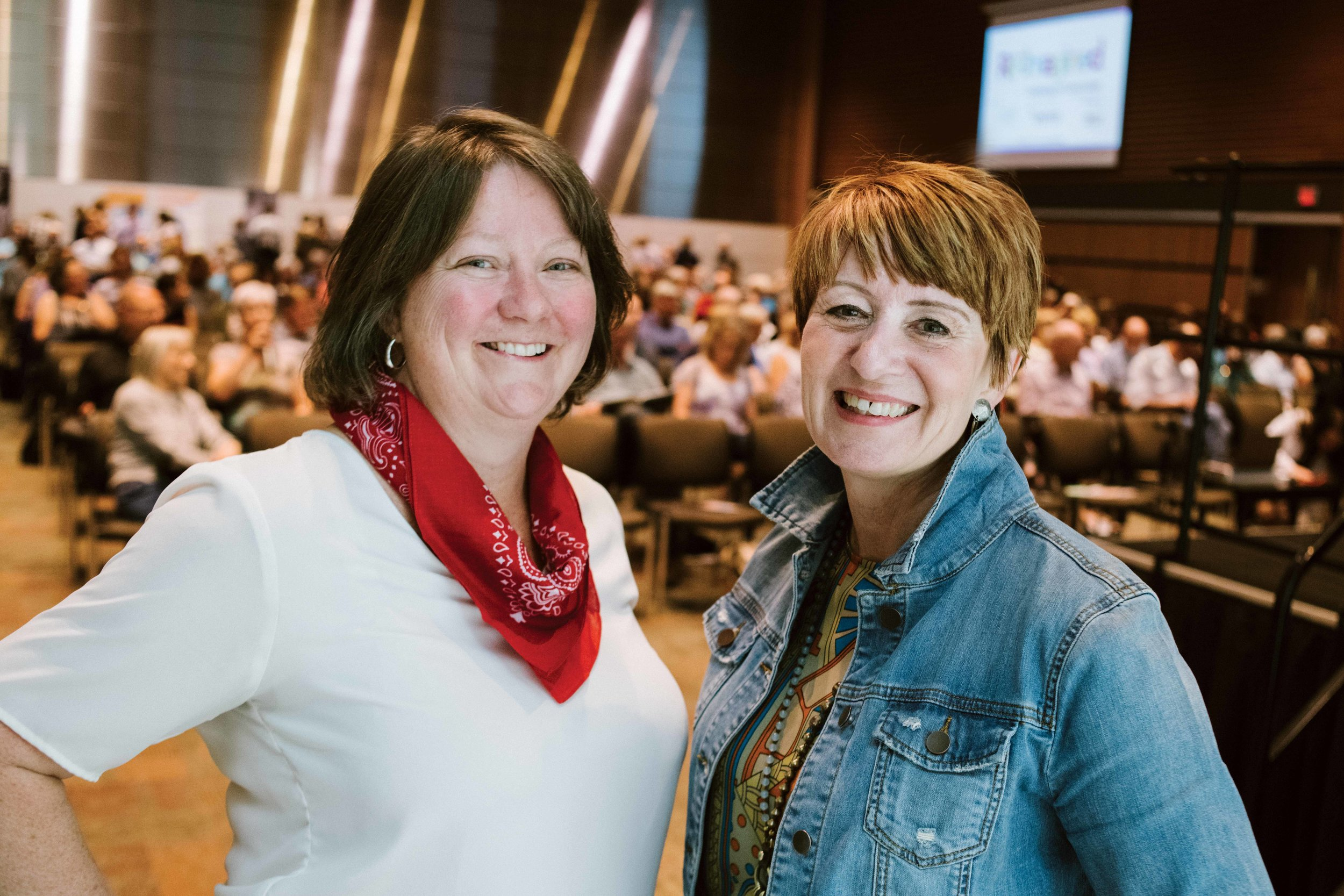 Kim Brundrit (left) and Barb Ferguson (right) at the Dementia Re-Imagined conference in July 2019. Photo by Jared Sych.