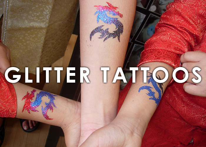 Glitter tattoos bring sparkle to any event  All the glamour of a tattoo, none of the regret. Fun for all ages, and great way to give your guests something to remember!   LEARN MORE