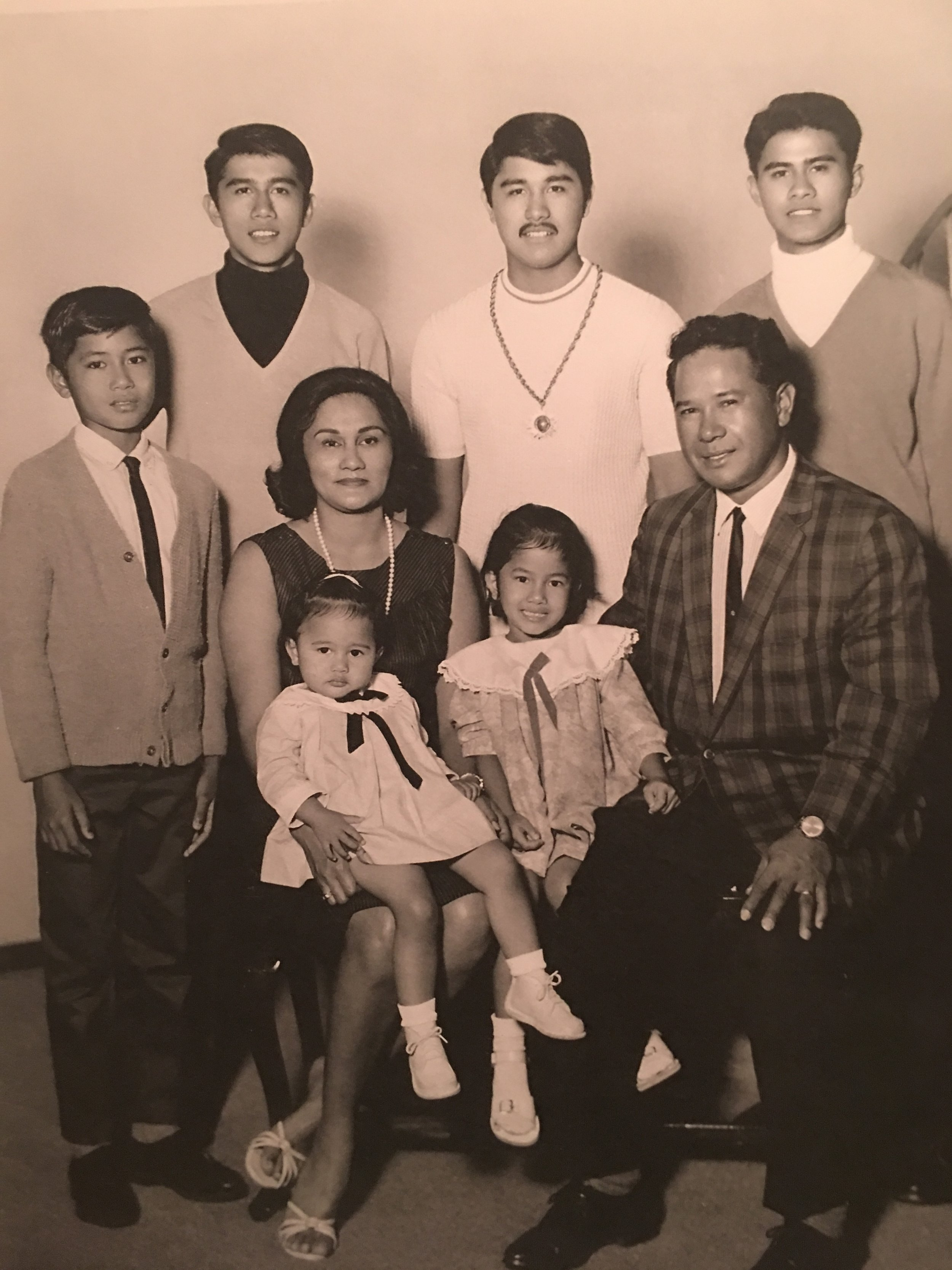 Back (left to right): Paul Bunda, Sandy Bunda, Jr., Bobby Bunda; Front (left to right): Mark Bunda, Esther Bunda (Mom), Sandilee Bunda, Tonilyn Bunda, Sandy Bunda (Dad)