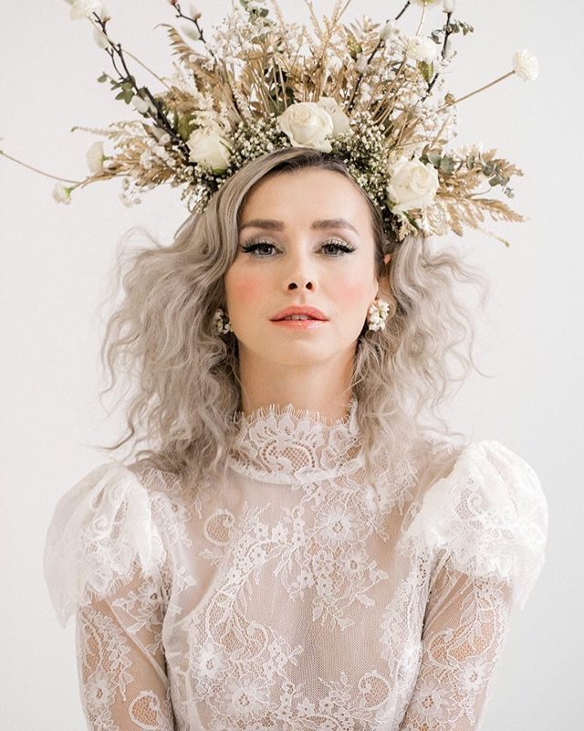 Queen @dddomini | a little peak from our shoot today | incredible @katyakatyalondon dress |amazing flower crown @wildrosebridalhair who also styled her hair with @treats4hair | Makeup @bluevanillabeauty | & @rebeccasearlephotography snapping away