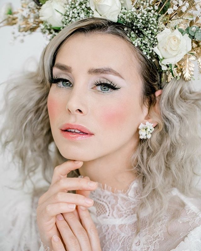 Such a dreamy shoot with the team @bluevanillabeauty who created this flawless look which has had absolutely no retouching, @wildrosebridalhair and @treats4hair styled this masterpiece, plus Candra of @wildrosebridalhair made this amaaaazing crown too | oh... and that dress 😍😍😍 is by @katyakatyalondon | photography by @rebeccasearlephotography