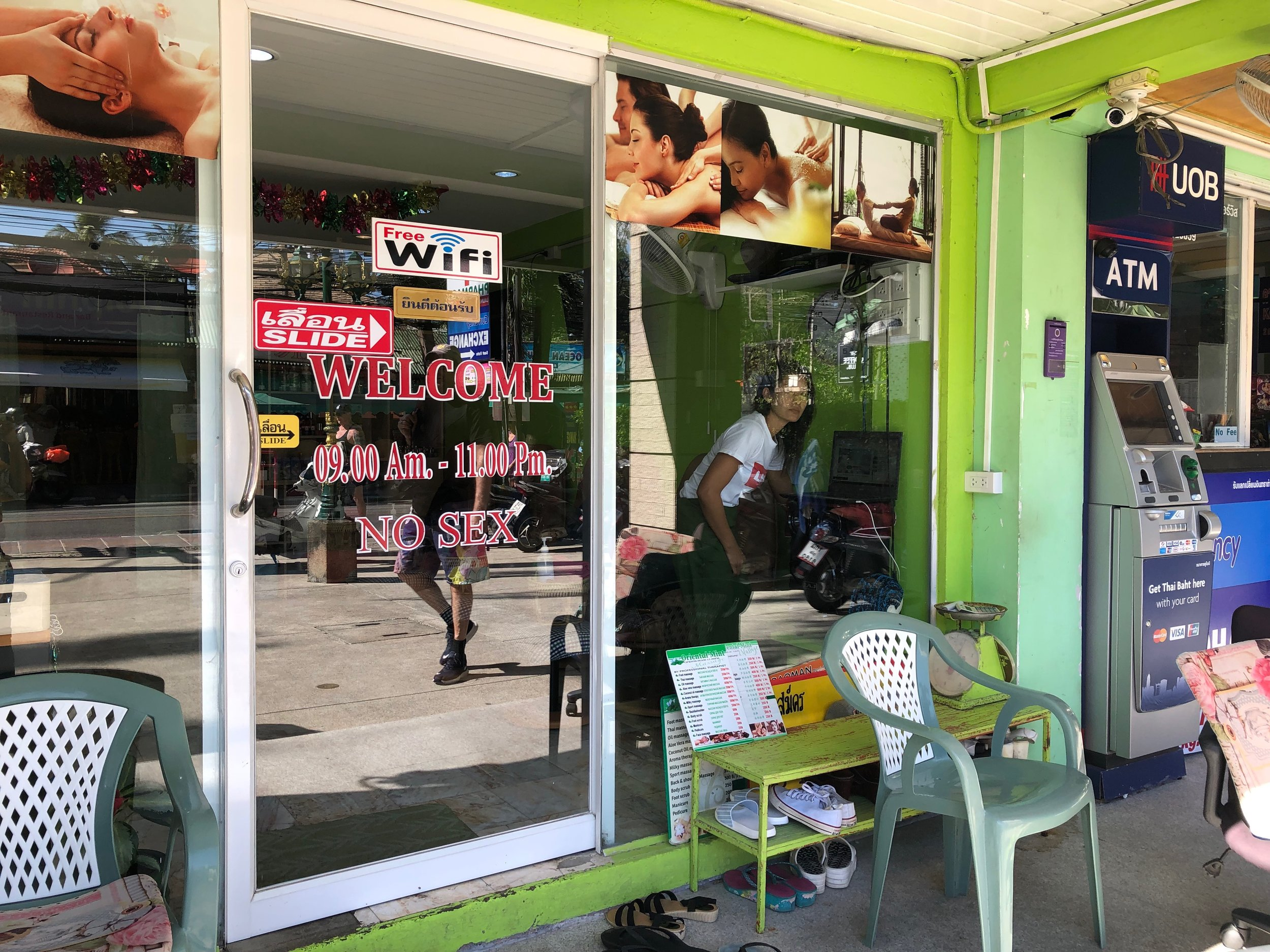 """""""No sex"""" — One of the massage parlors near the port in Thailand makes it clear that there's no happy ending to be found here."""