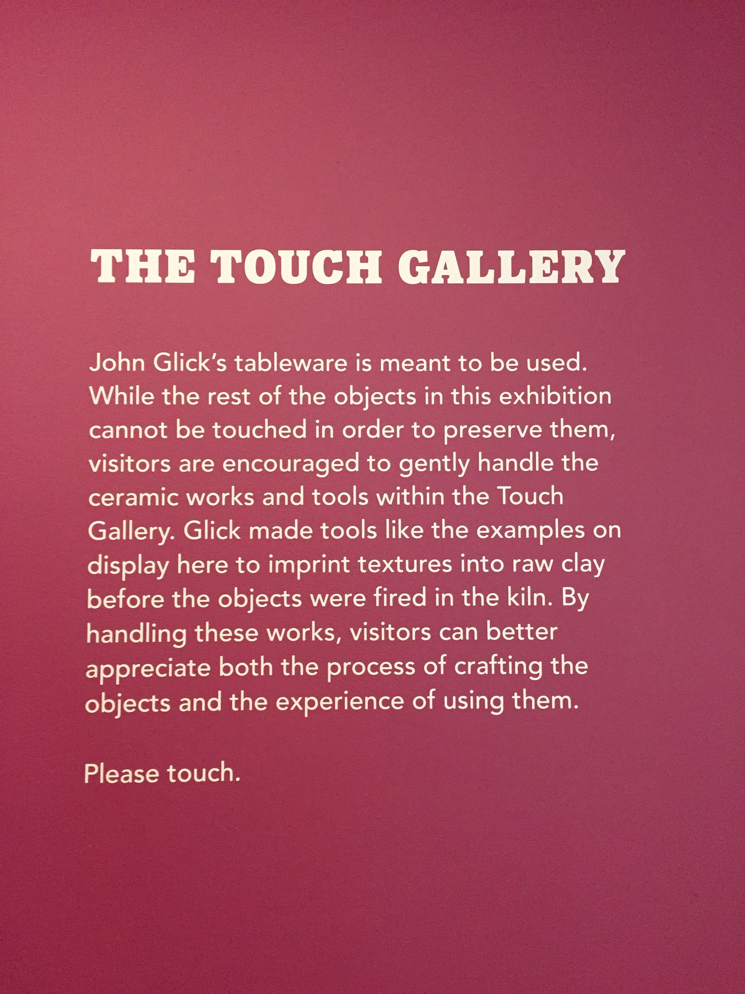 Details on the Touch Gallery, featuring John Glick's clay pieces, at Cranbrook Art Museum -