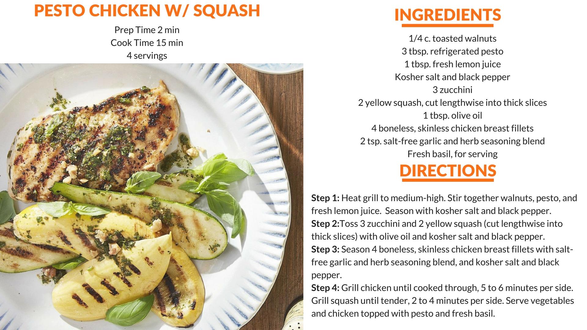 Pesto Chicken With Squash