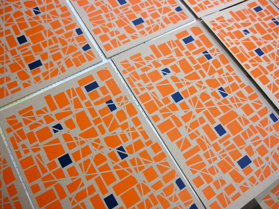 Screen Print Posters Orange Blue Grid Design.jpg