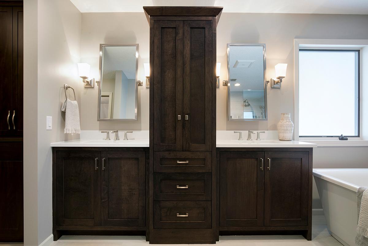Maven Design Studio Portfolio - Master Bath design with double vanity, dark cabinets, white countertops