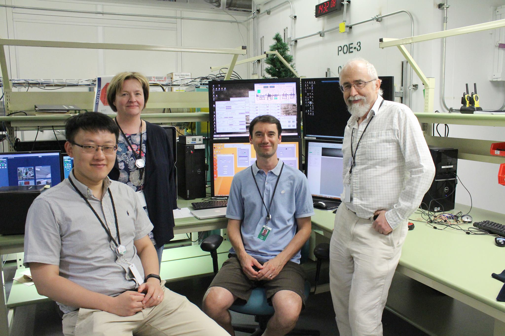 University of Helsinki researchers Teng Zhang and Paula Elomaa and University of Calgary scientists Mik Cieslak and Przemyslaw Prusinkiewicz at the BMIT beamline. The team is using computed tomography (a CT-scan) to image the inside of Aster-family flowers, to visualize their hidden vasculature.