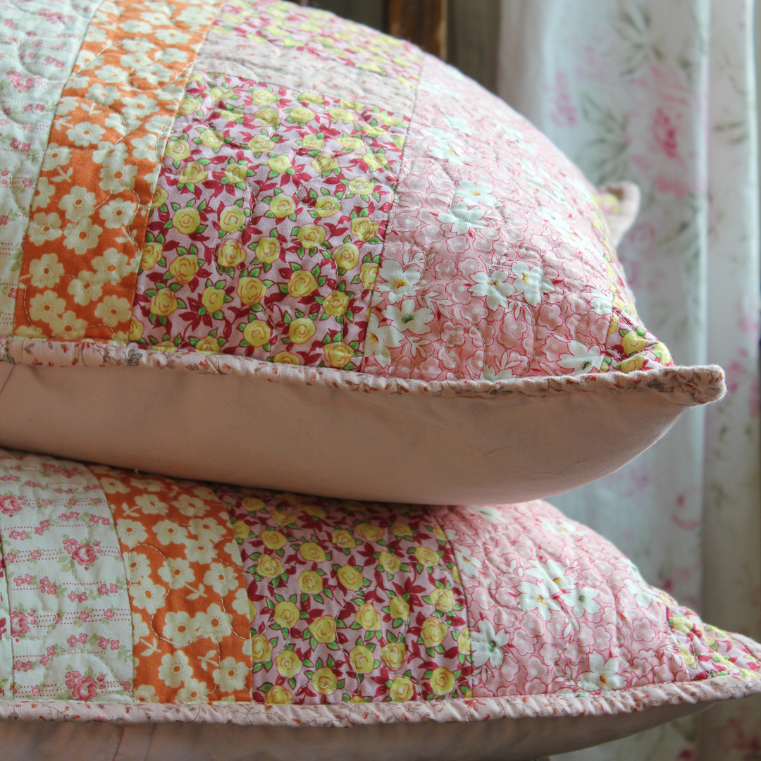 Improv Stripes Quilted Pillow Shams in Pink via www.helloquilting.com