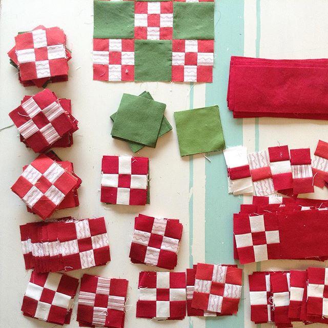 Double Nine-Patch Christmas Blocks via www.helloquilting.com