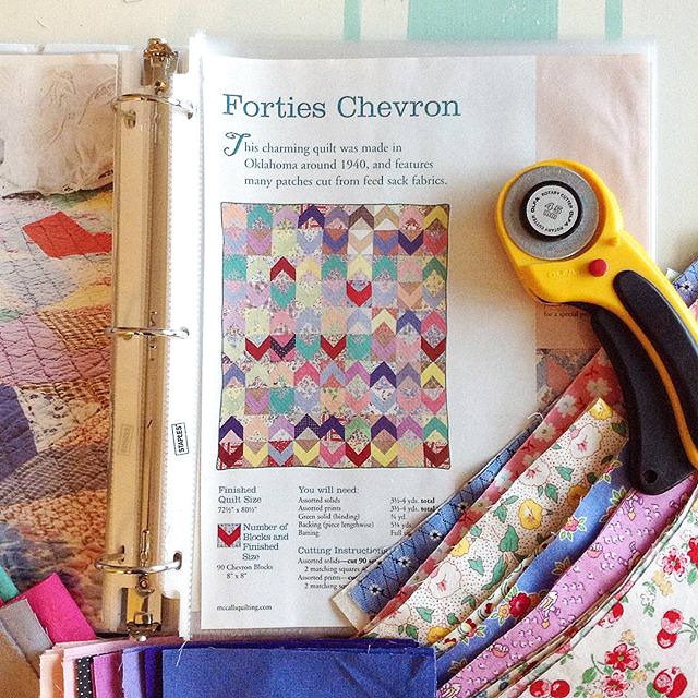 Forties Chevron Quilt from McCall's Quilting Fabric Pull via www.helloquilting.com