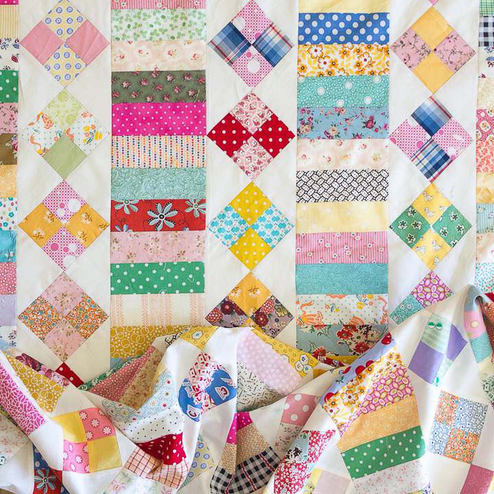 Make Do Patch-and-Coin Quilt Top Finished via www.helloquilting.com