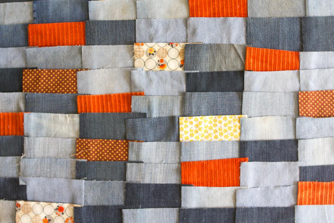 Denim Quilt Layout via www.helloquilting.com
